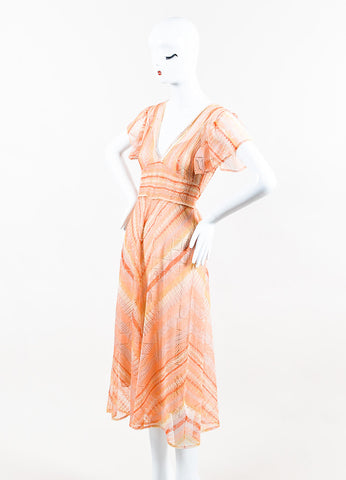 Orange Valentino Silk Knit Flutter Sleeve & Tie Waist Dress Front