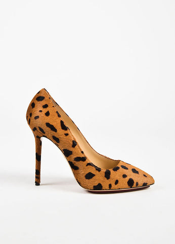 "Charlotte Olympia Tan and Brown ""Hyena"" Pony Hair ""Monroe"" Pumps Sideview"
