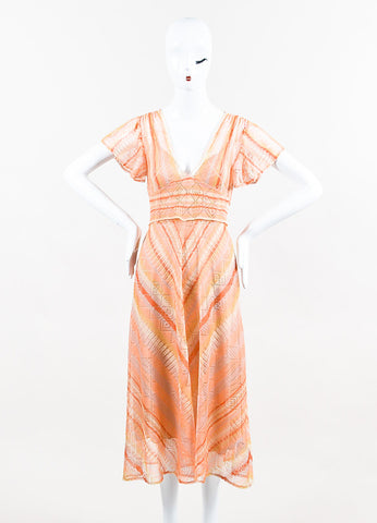 Orange Valentino Silk Knit Flutter Sleeve & Tie Waist Dress Front 2