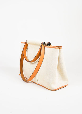 "Hermes Beige and Tan Canvas and Leather Double Strap ""Cabag Elan"" Tote Bag Sideview"