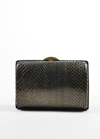 Black and Gold Toned Chanel Python Box Frame Small Clutch Bag Frontview