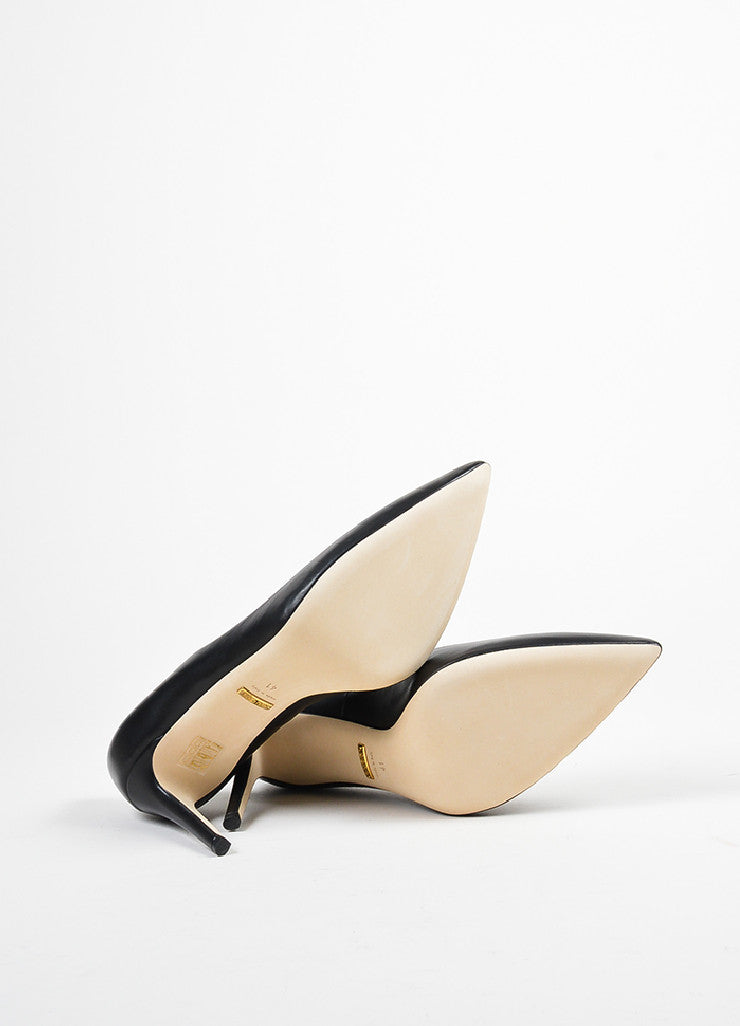 "Black Gucci Leather Pointed Toe ""Brooke"" Pumps Sole"