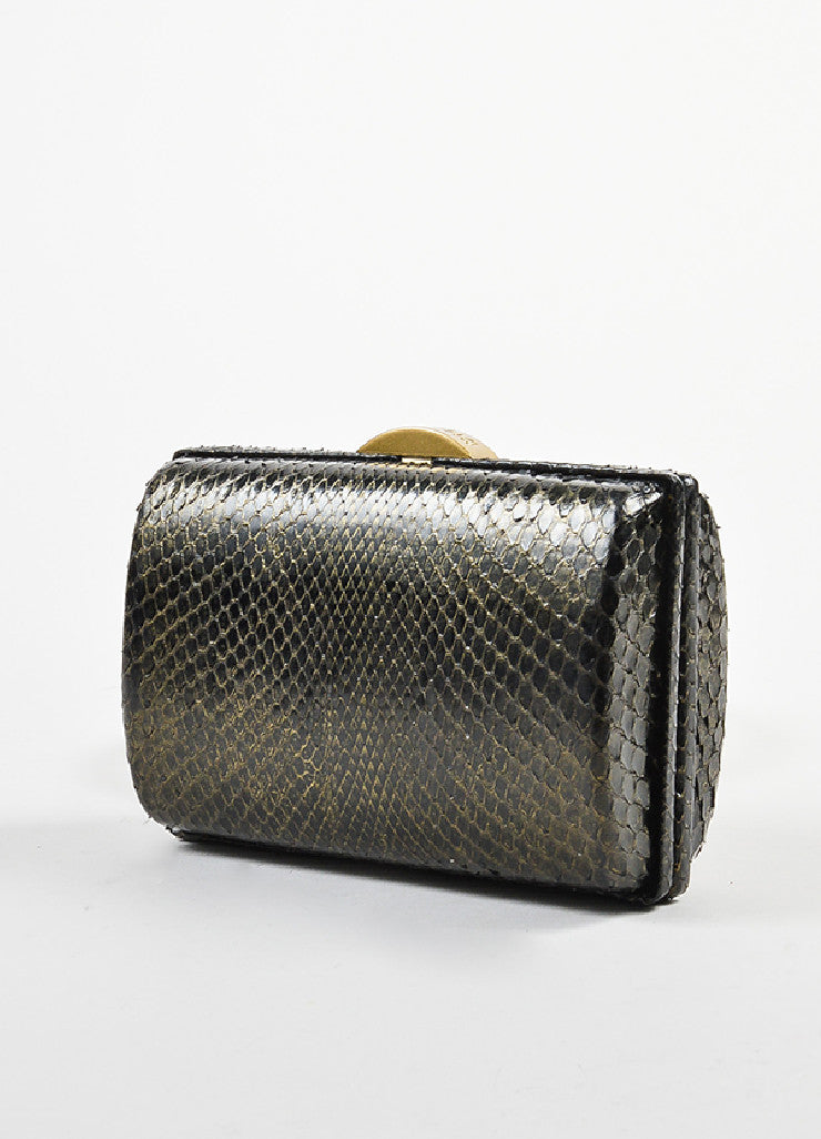 Black and Gold Toned Chanel Python Box Frame Small Clutch Bag Sideview