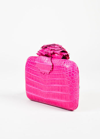 Nancy Gonzalez Fuchsia Crocodile Floral Applique Clutch Bag Sideview