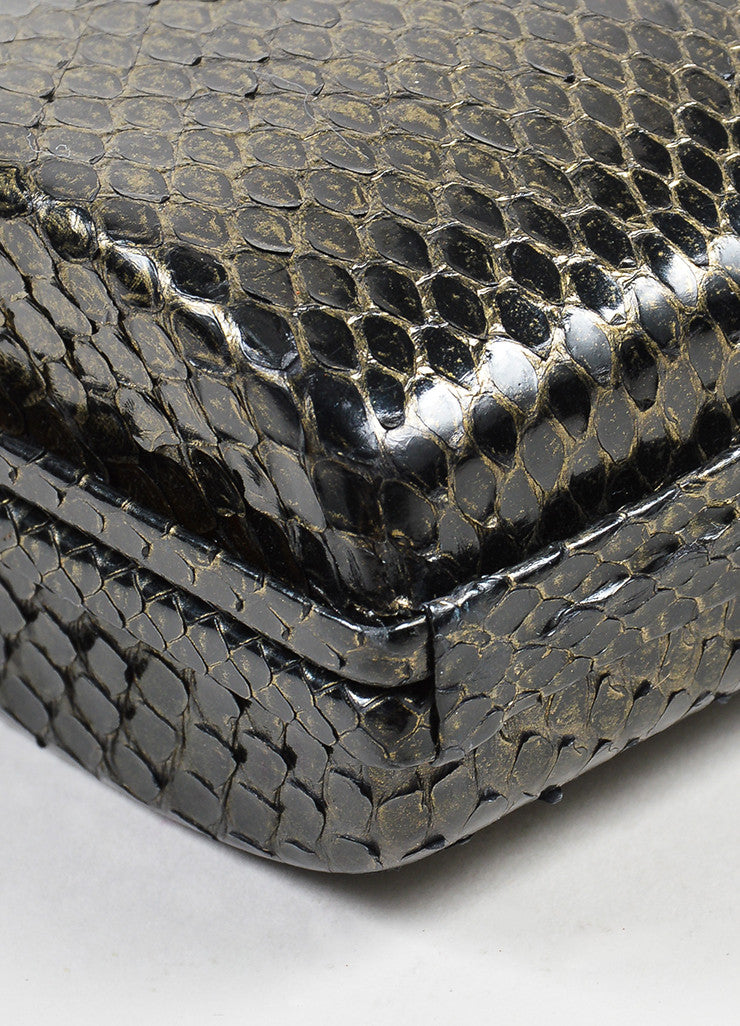 Black and Gold Toned Chanel Python Box Frame Small Clutch Bag Detail