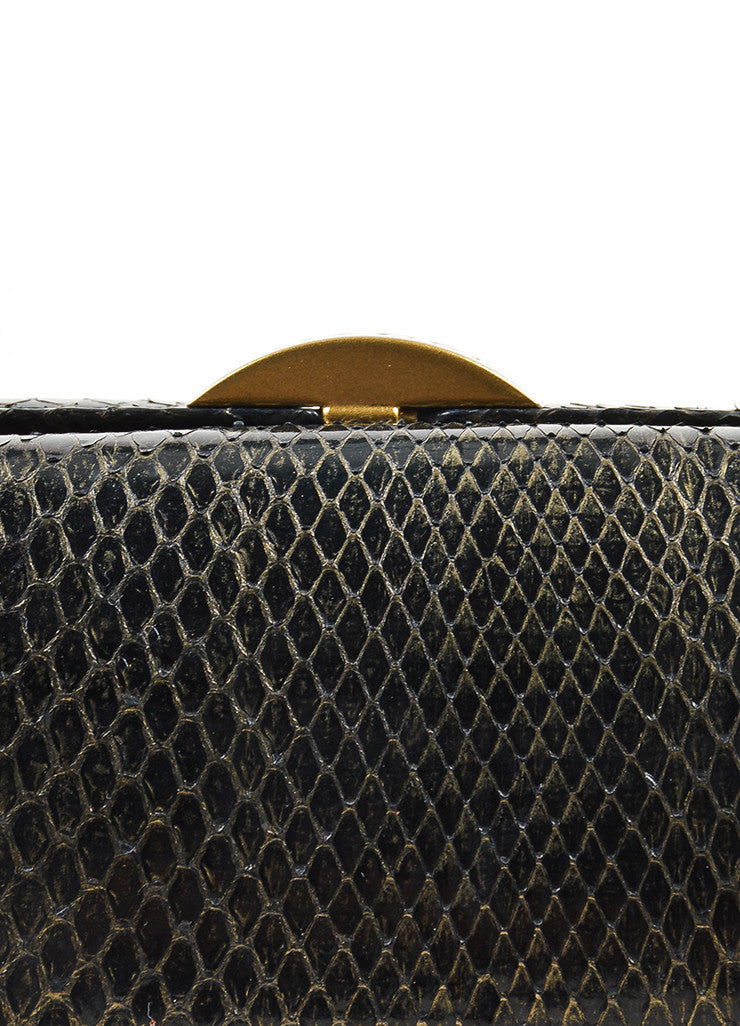 Black and Gold Toned Chanel Python Box Frame Small Clutch Bag Detail 2