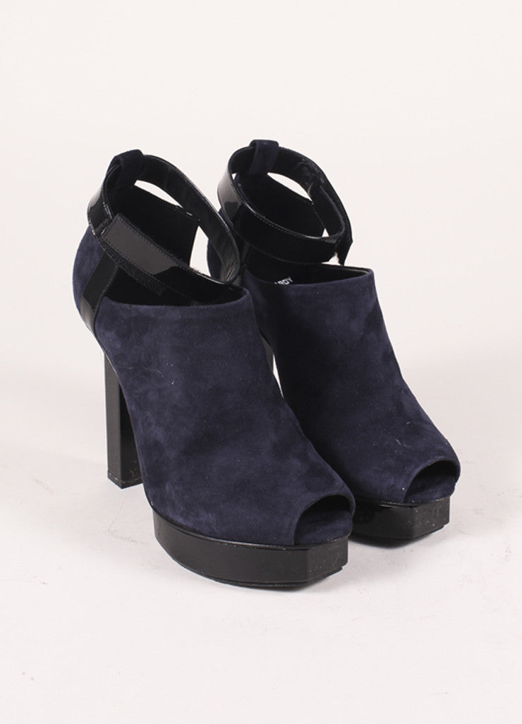 Pierre Hardy Navy and Black Suede and Patent Leather Peep Toe Platform Heels Frontview