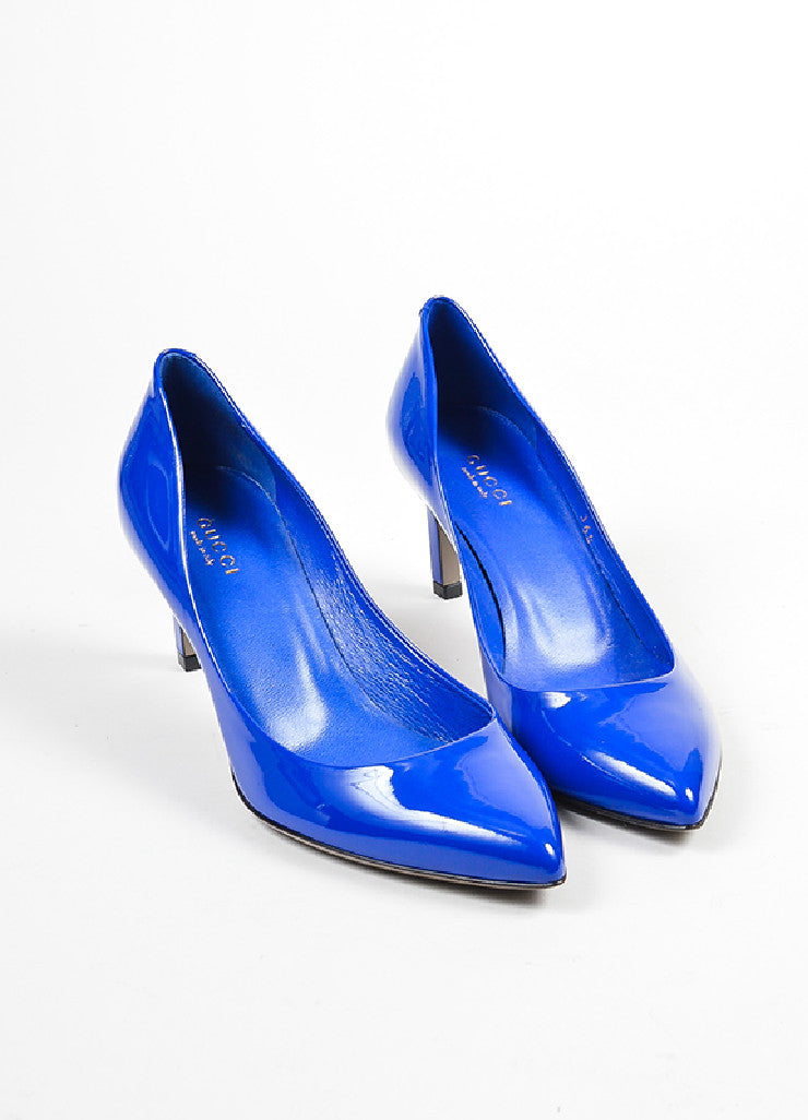 Blue Gucci Patent Leather Pointed Toe 65mm Heel Pumps Frontview