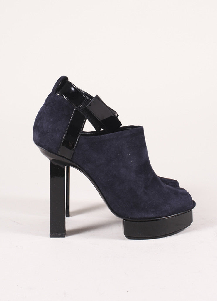 Pierre Hardy Navy and Black Suede and Patent Leather Peep Toe Platform Heels Sideview
