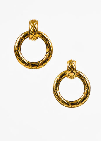 Chanel Gold Toned Quilted Convertible Hoop Clip On Earrings Frontview