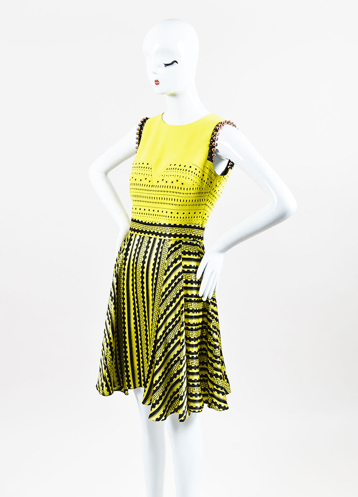 Versace Yellow and Black Silk Cut Out Greek Key Beaded Trim Dress Sideview