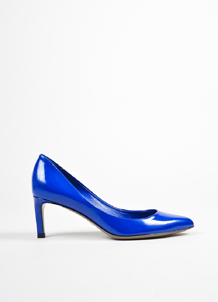 Blue Gucci Patent Leather Pointed Toe 65mm Heel Pumps Sideview
