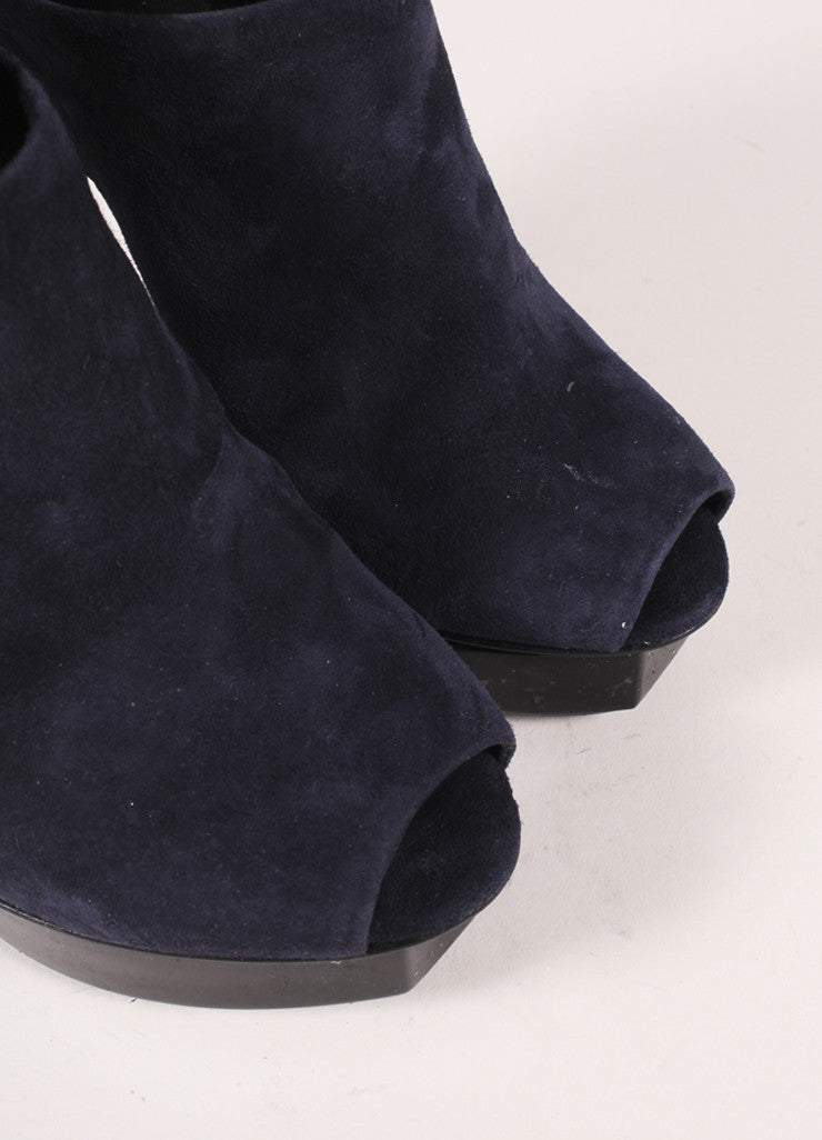 Pierre Hardy Navy and Black Suede and Patent Leather Peep Toe Platform Heels Detail