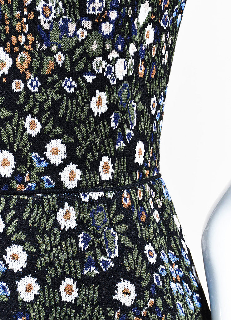 Multicolor Valentino Knit Flower and Bird Short Sleeve Dress Detail