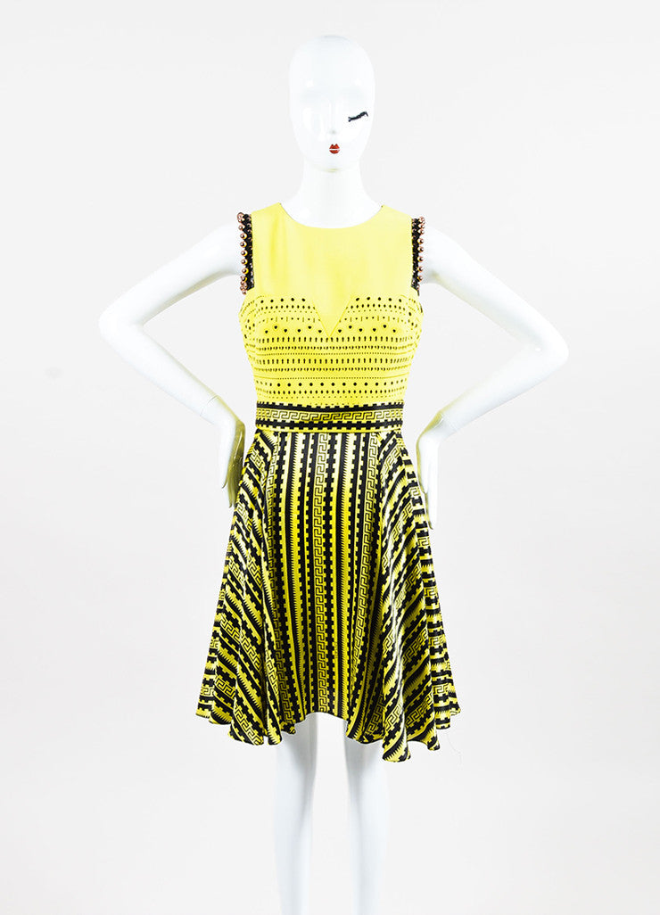 Versace Yellow and Black Silk Cut Out Greek Key Beaded Trim Dress frontview