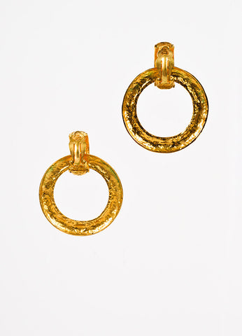 Chanel Gold Toned Quilted Convertible Hoop Clip On Earrings Backview