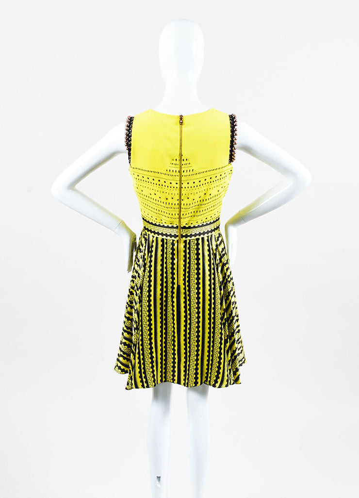 Versace Yellow and Black Silk Cut Out Greek Key Beaded Trim Dress Backview