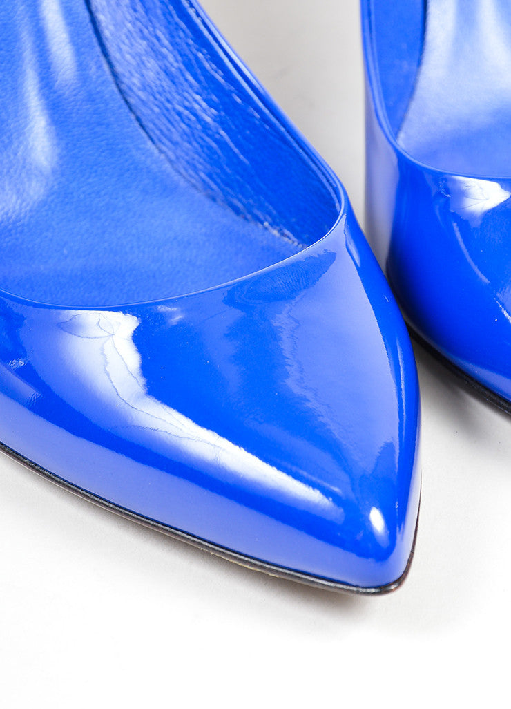 Blue Gucci Patent Leather Pointed Toe 65mm Heel Pumps Detail