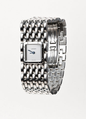 "Cartier Silver Stainless Steel ""Panthere Ruban"" Square Face Watch Front"