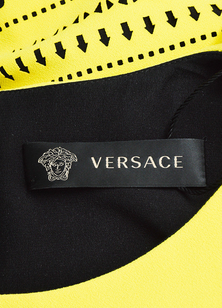 Versace Yellow and Black Silk Cut Out Greek Key Beaded Trim Dress Brand