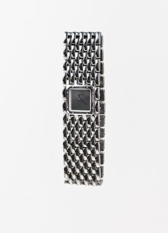 "Cartier Silver Stainless Steel ""Panthere Ruban"" Square Face Watch Back"