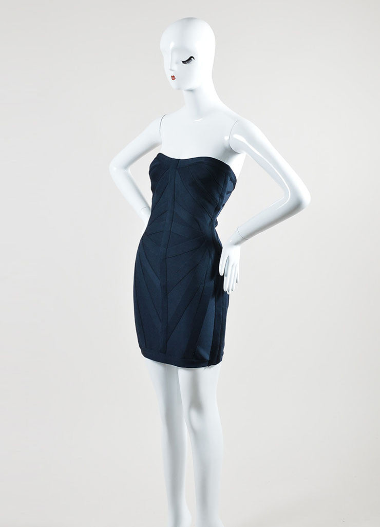 Navy Blue Herve Leger Strapless Bodycon Bandage Dress Sideview
