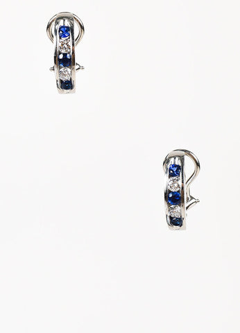 Platinum Channel Set Sapphire Diamond Huggie Earrings Frontview