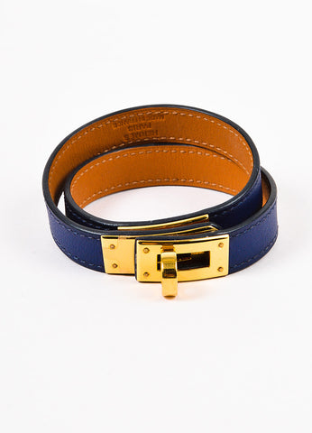"Hermes Navy Swift Leather GHW ""Kelly Double Tour"" Wrap Bracelet Frontview"