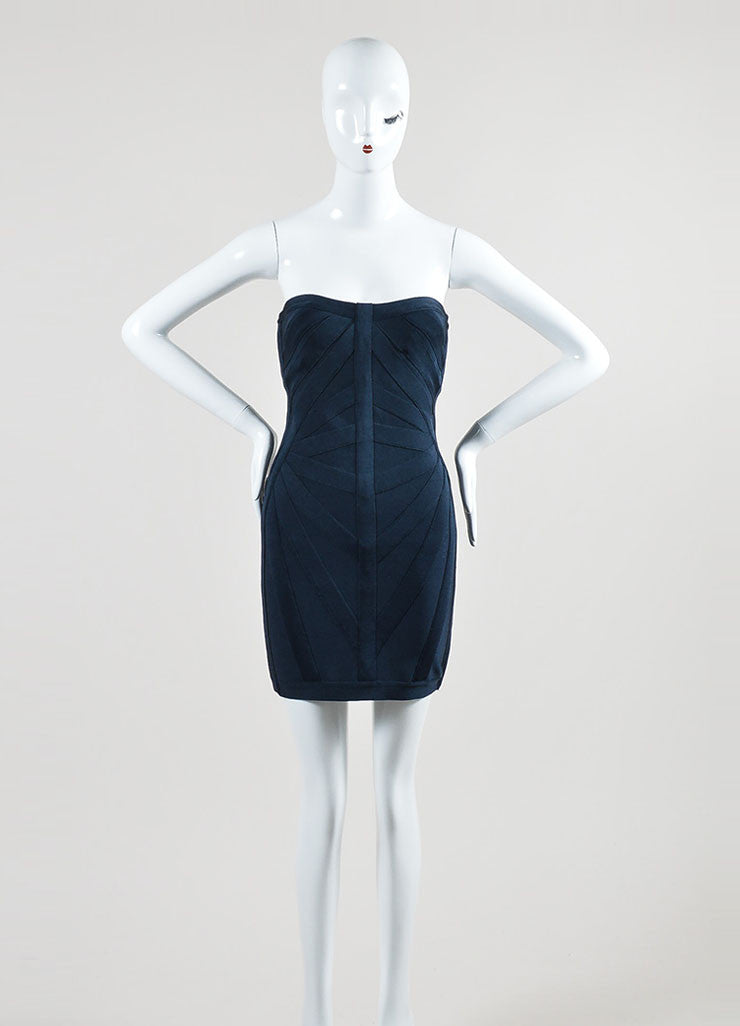 Navy Blue Herve Leger Strapless Bodycon Bandage Dress Frontview