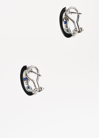 Platinum Channel Set Sapphire Diamond Huggie Earrings Sideview