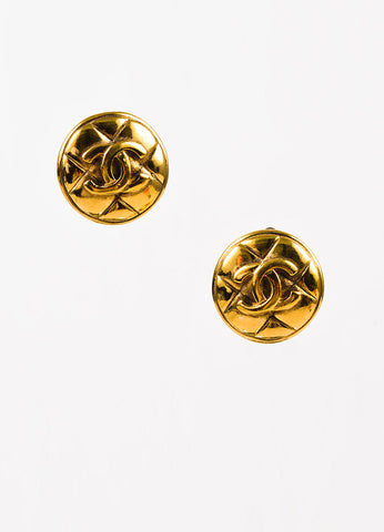 Chanel Gold Toned Quilted Round 'CC' Clip On Earrings Frontview