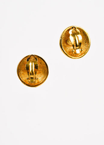 Chanel Gold Toned Quilted Round 'CC' Clip On Earrings Backview