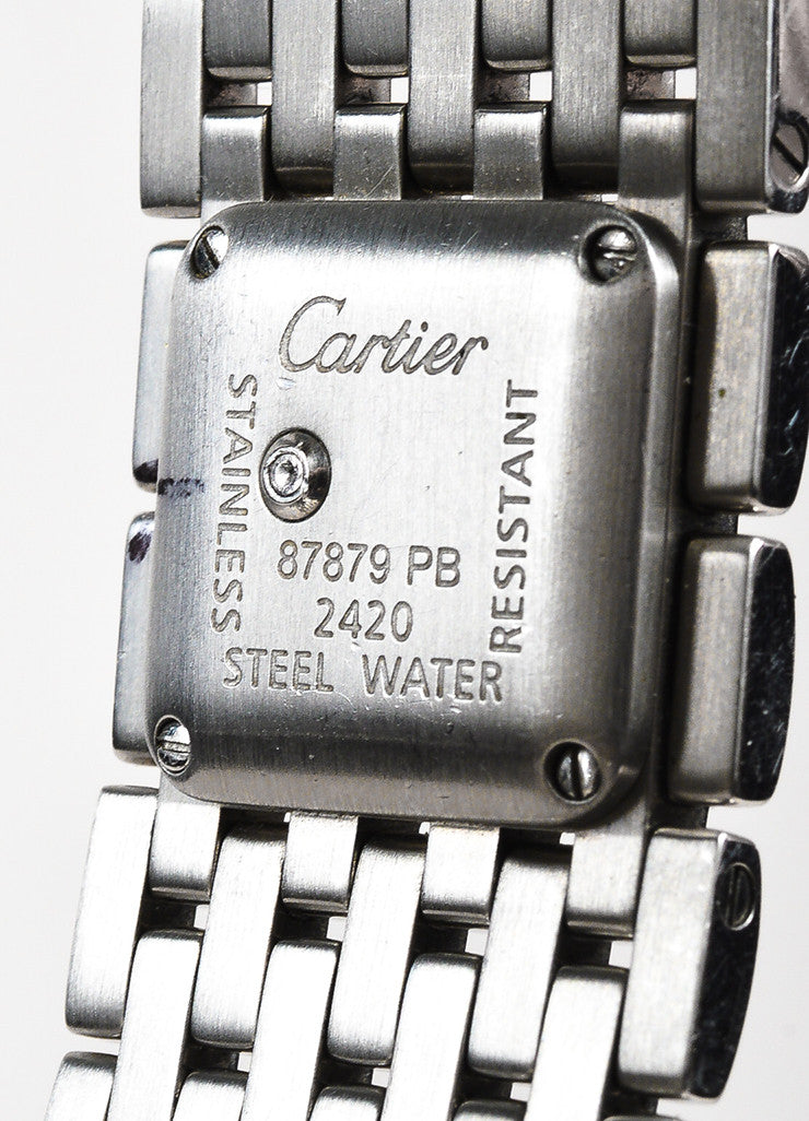 "Cartier Silver Stainless Steel ""Panthere Ruban"" Square Face Watch Brand"