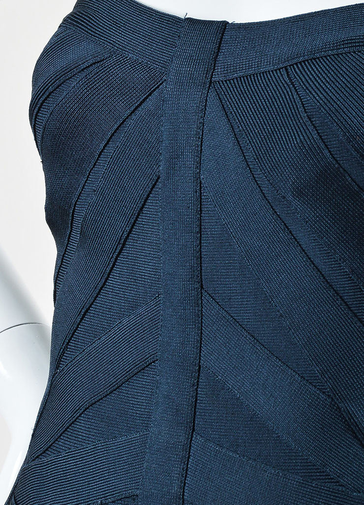 Navy Blue Herve Leger Strapless Bodycon Bandage Dress Detail