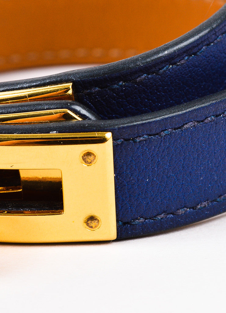 "Hermes Navy Swift Leather GHW ""Kelly Double Tour"" Wrap Bracelet Detail 2"