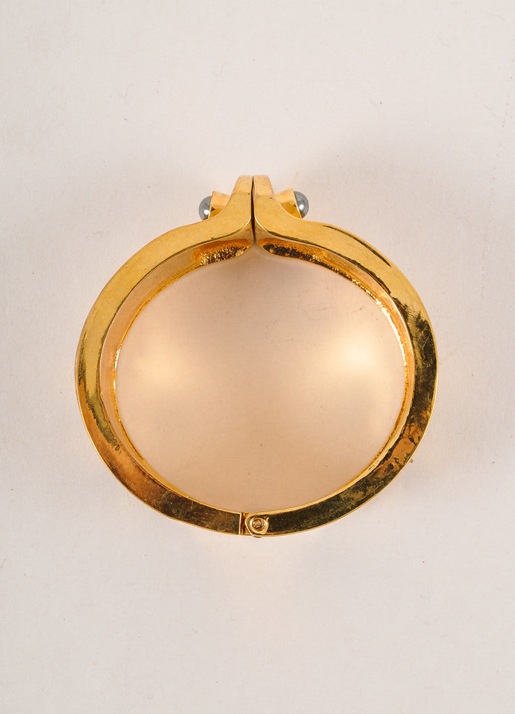 Kara Ross Gold Toned, Cream, and Grey Snakeskin Leather Trim Metal Cuff Bracelet Topview