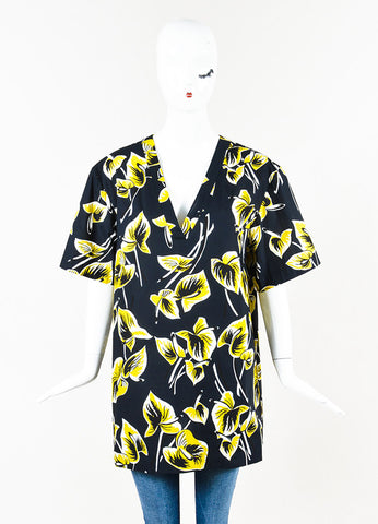 Marni Navy Yellow Tropical Leaf Print Short Sleeve Tunic Top Front