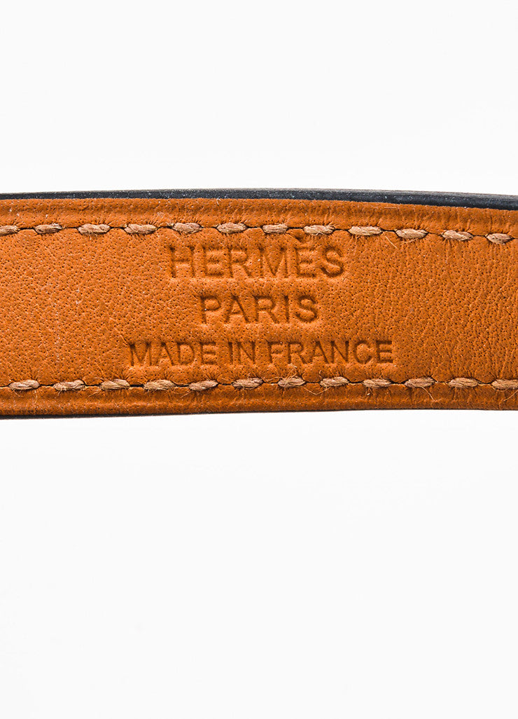"Hermes Navy Swift Leather GHW ""Kelly Double Tour"" Wrap Bracelet Brand"