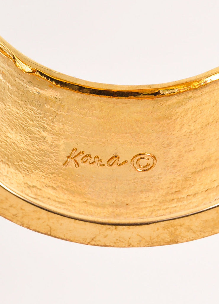 Kara Ross Gold Toned, Cream, and Grey Snakeskin Leather Trim Metal Cuff Bracelet Brand