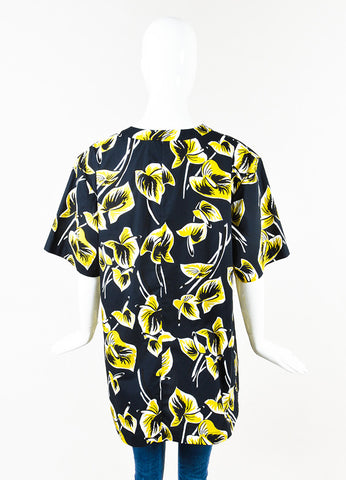 Marni Navy Yellow Tropical Leaf Print Short Sleeve Tunic Top Back