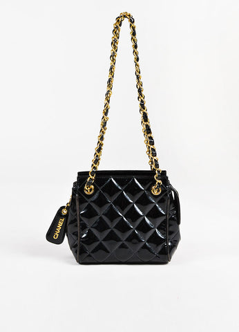Chanel Black Patent Leather Quilted Gold Toned Chain Strap Shoulder Bag Frontview