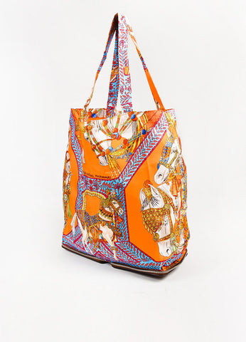 Hermes Brown and Multicolor Leather and Silk Printed La Danse Du Cheval Marwari Tote Bag Sideview