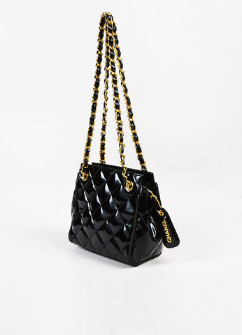 Chanel Black Patent Leather Quilted Gold Toned Chain Strap Shoulder Bag Sideview