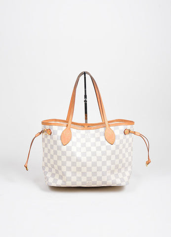 "White and Blue Louis Vuitton Canvas Leather ""Damier Azur Neverfull PM"" Small Tote Bag Frontview"