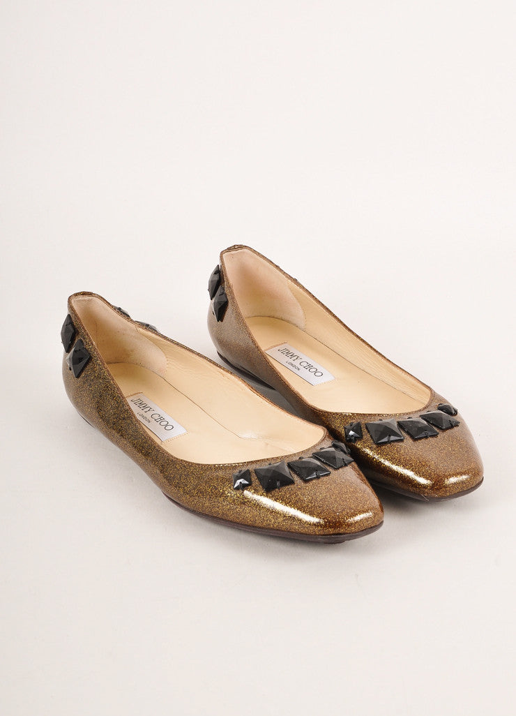 Jimmy Choo Gold Metallic and Black Bejeweled Patent Leather Flats Frontview