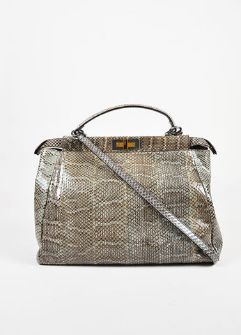 "Fendi Grey Python Leather Double Turnlock ""Large Peekaboo"" Tote Bag Frontview"