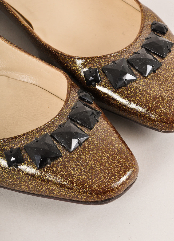 Jimmy Choo Gold Metallic and Black Bejeweled Patent Leather Flats Detail
