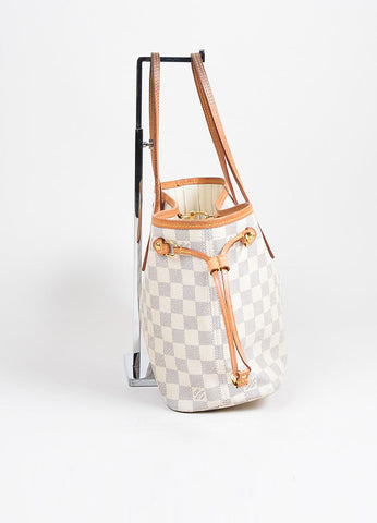 "White and Blue Louis Vuitton Canvas Leather ""Damier Azur Neverfull PM"" Small Tote Bag Sideview"