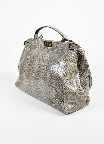 "Fendi Grey Python Leather Double Turnlock ""Large Peekaboo"" Tote Bag Sideview"