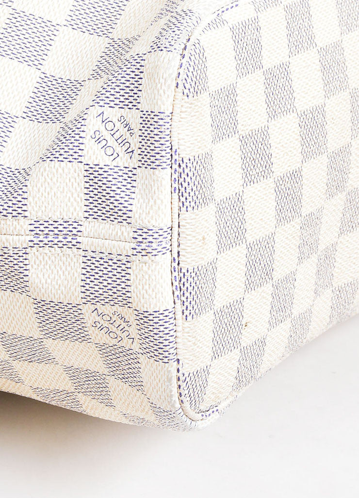 "White and Blue Louis Vuitton Canvas Leather ""Damier Azur Neverfull PM"" Small Tote Bag Detail"
